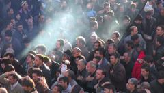 Iran Ashura, muslim men take part in religious sombre parade, donate money Stock Footage