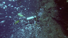 Bubbles rising from scuba diver - stock footage