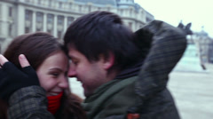 Valentines young adult couple caught by paparazzi. Stock Footage