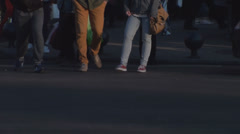 Pedestrians Crossing The Street Front-Shot Stock Footage
