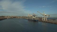 Wide shot of Port Elizabeth and harbour Stock Footage