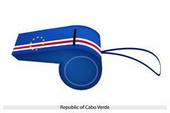 Sininen, valkoinen ja punainen raita Kap Verde pilli Piirros