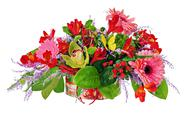 Stock Photo of floral arrangement from lilies, gerbera flowers and orchids in cardboard ches