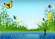 Stock Illustration of Small Lake And Butterflies