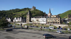 View of townscape with castle in background in Germany Stock Footage