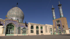 Iran beautiful shrine mosque architecture black flags blue sky Islam Stock Footage