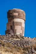 Silustani tombs in the peruvian andes at puno peru Stock Photos