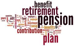 pension and retirement tag cloud - stock illustration