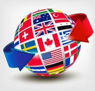 flags of the world on a globe with an arrow. vector illustration - stock illustration