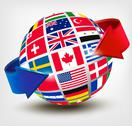 Stock Illustration of flags of the world on a globe with an arrow. vector illustration