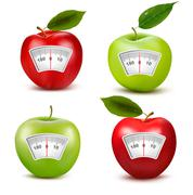 set of apples with a weight scale. diet concept. vector. - stock illustration