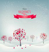 Holiday retro background. valentine trees with heart-shaped leaves. vector il Stock Illustration