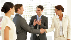 Business people shaking hands at interview while others applaud - stock footage