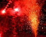 Stock Photo of explosion with fire in the night with smoke, sparks, light, blaze