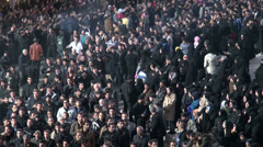 Ashura in Iran, sombre parades in streets of Zanjan city, men and women Stock Footage