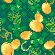 Seamless saint patrick day pattern. shamrock and golden coins on checkered ba Stock Illustration