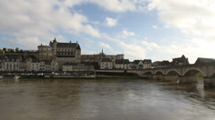 River Loire and Amboise waterfront France Stock Footage
