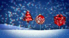 Vj, New Year, snow, gifts. 3d, stereoscopic, anaglyph. Stock Footage