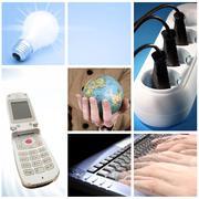 Tehnology collage Stock Photos