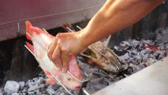 Fish Outdoor Barbecue - Ready for Eating Stock Footage
