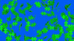 Green screen area disintegrates into puzzle pieces Stock Footage