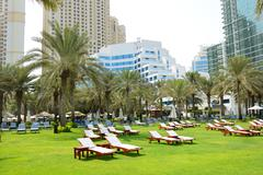 Sunbeds on the green lawn and palm trees shadows in luxury hotel, dubai, uae Stock Photos