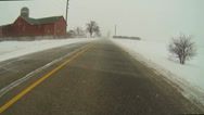 Stock Video Footage of A Point of View (POV) drive in drifting snow