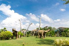 public parks of statues and dinosaur bones at phu-kum-khao in thailand - stock photo