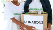 Stock Video Footage of Happy volunteer team holding a food donation box