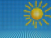Stock Illustration of comic style sun made out of light cubes
