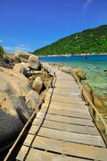 thailand koh tao - a paradise island boardwalk - stock photo