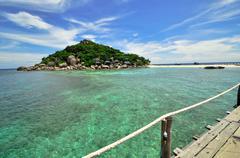 koh tao boardwalk  - a paradise island in thailand. - stock photo