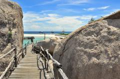 Koh tao - a paradise boardwalk in thailand. Stock Photos