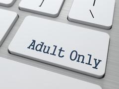 Adult Only Button on White Computer Keyboard. Stock Illustration