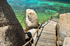 Turquoise water koh tao - a paradise island in thailand. Stock Photos