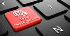 Time Management on Red Keyboard Button. - stock illustration