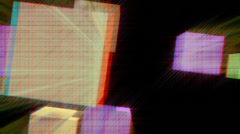 Vj, squares fly on a black background. 3d, stereoscopic, anaglyph Stock Footage