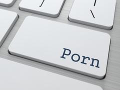 Porn Button on White Computer Keyboard. Stock Illustration