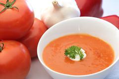 Fresh tomato soup  Stock Photos