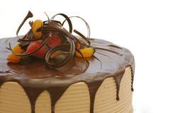 Triple layer chocolate cake  - stock photo