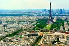 airel view of eiffel tower and champ de mars - stock photo