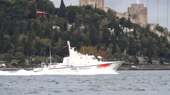Police boat patrols the area of straits Stock Footage