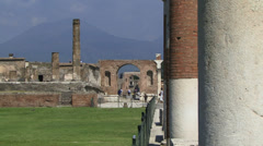 Mount vesuvius viewed from Pompeii Stock Footage
