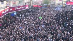 Iran, crowds mourn martyrdom Imam Hossein, Ashura, religion, Islam, muslims Stock Footage