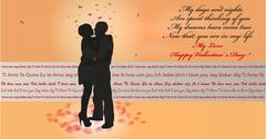 Valentine Card Kissing Couple in the evening Stock Illustration