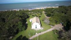 Trancoso Church to Mangue Aerial 8 Stock Footage