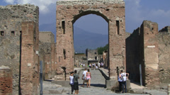 People taking photographs of Pompeii Stock Footage