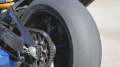 Motorcycle Superbike Chain Wheel Stock Footage