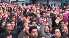 Iran, muslim men are chanting, commemorating martyrdom Hossein, Shia Islam Stock Footage