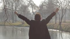 Young happy man enjoy big success. Stock Footage
